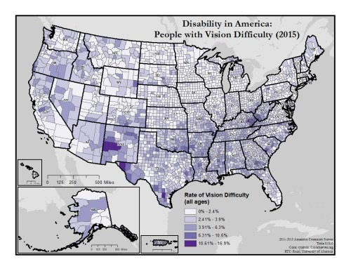 This is a map of the United States which depicts rates of vision difficulty by county. A text description of this map is included in the webpage content.
