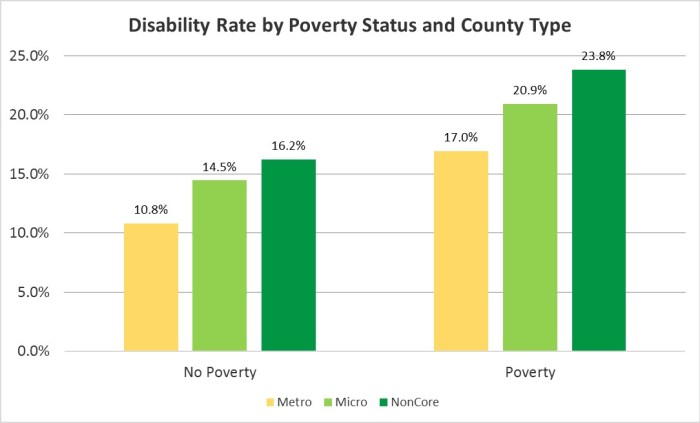 A bar chart comparing disability rates between people above and below the poverty line by county type.