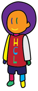 HCL mascot, a rainbow-colored cartoon person
