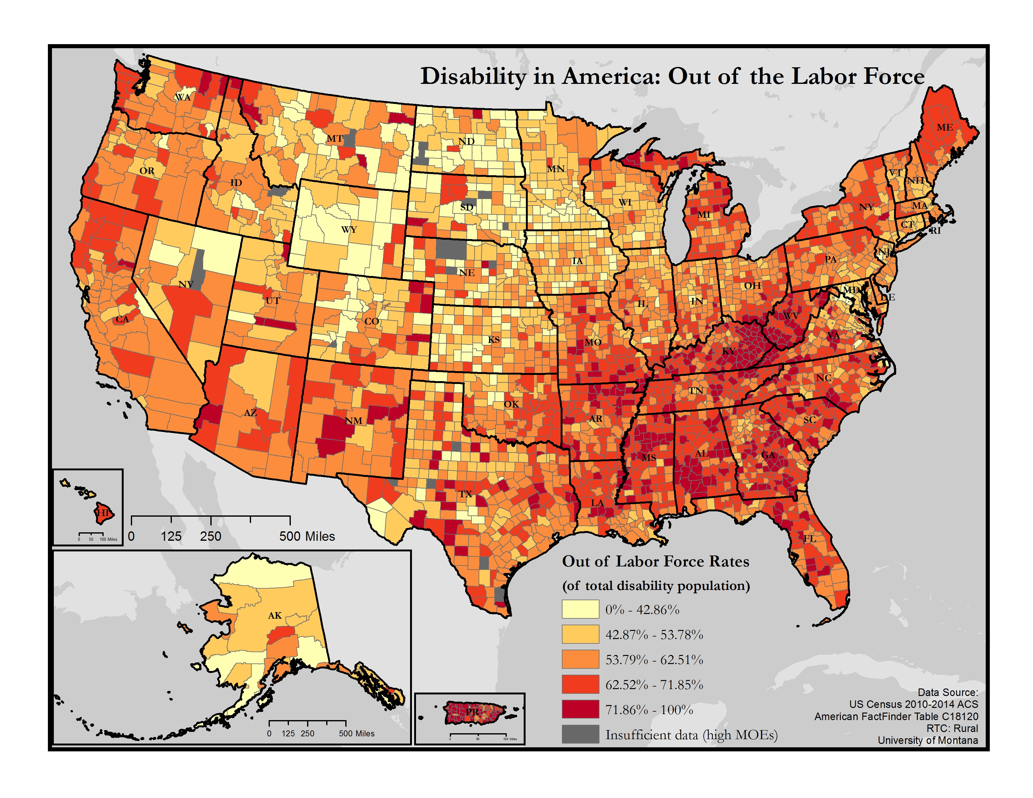 Maps Of Disability And Employment Disability In America Map - Downloadable us map