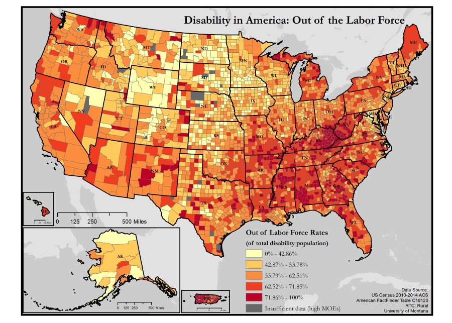 map of rates of people out of the labor force who have disabilities in the US - click the link in this article for a full text description of the map