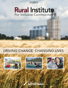 Cover of the Rural Institute for Inclusive Communities FY2017 Annual Report. Driving Change, Changing Lives.