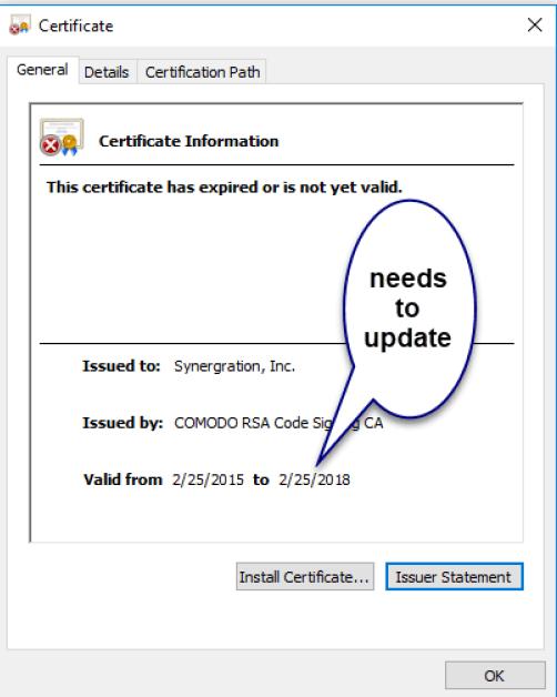 OSRun has expired certificate
