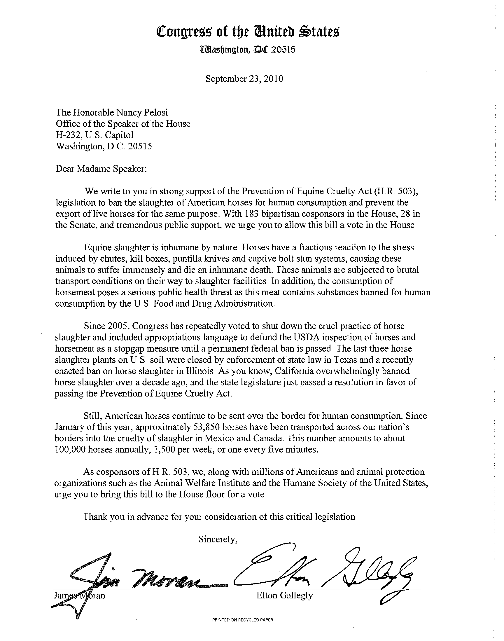The U S Equine Advocacy Letter To Nancy Pelosi