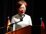 Taiwans Vertreterin in Berlin, Agnes Hwa-Yue Chen, hält ihre Ansprache zum Nationalfeiertag