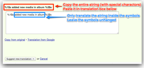 Translating strings with special characters
