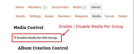per group media setting