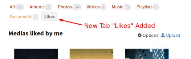 New tab likes added
