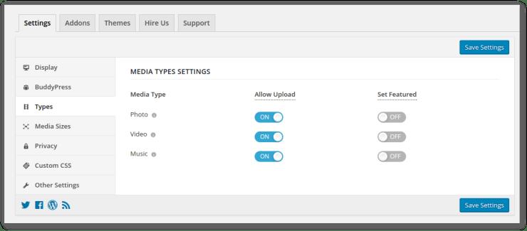 Types menu in settings