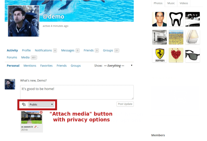 """Attach media"" button with privacy options"
