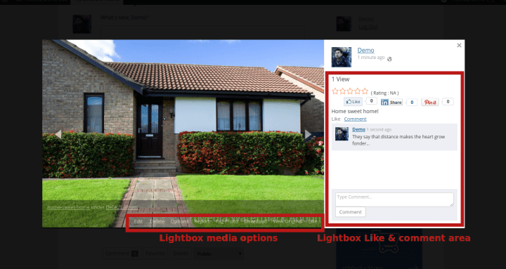 Lightbox media options; Lightbox like and comment area