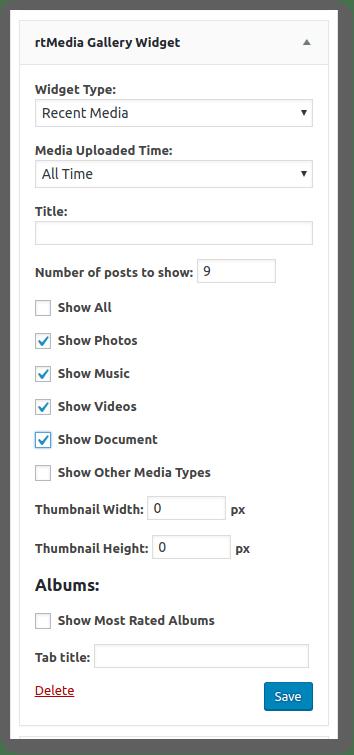 rtMedia Sidebar Widget admin settings