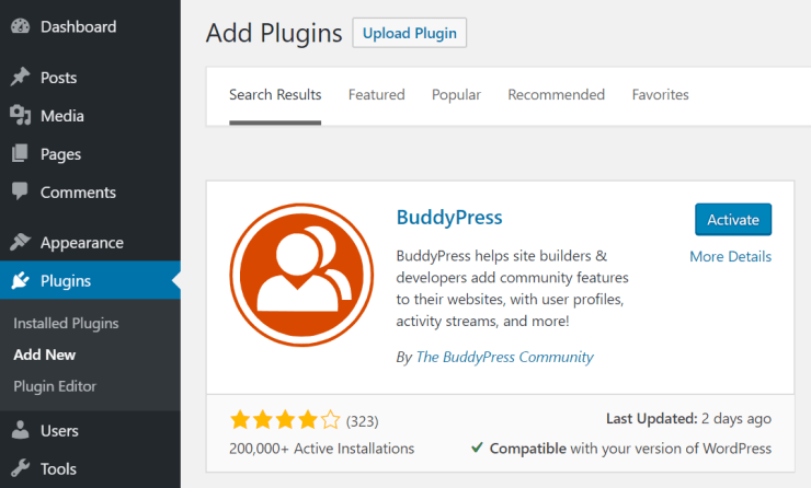 activate buddypress social networking and online community builder plugin