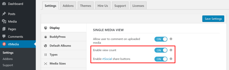 enable rtmedia view counter and social sharing buttons