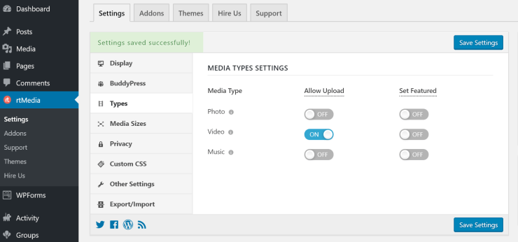 disable photos and music file uploads in buddypress using rtmedia