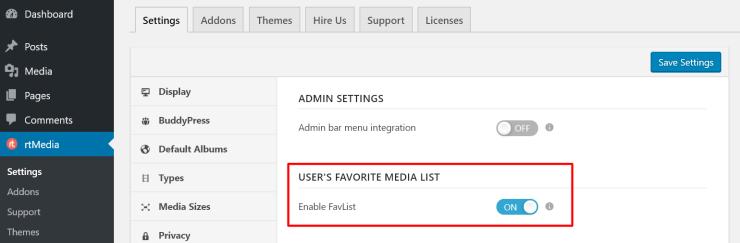 rtmedia user favorite list add-on