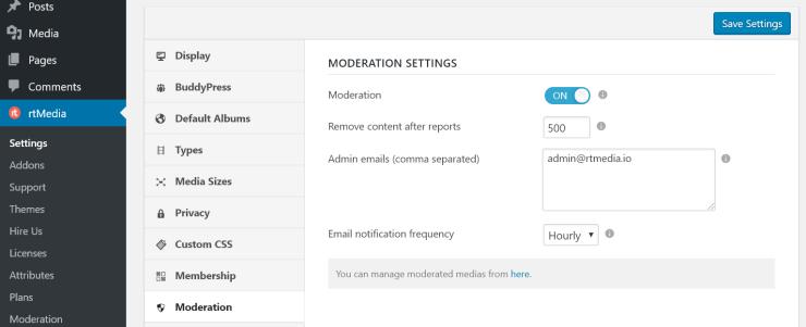 rtmedia content moderation settings