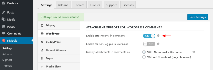 wordpress comment media attachment support