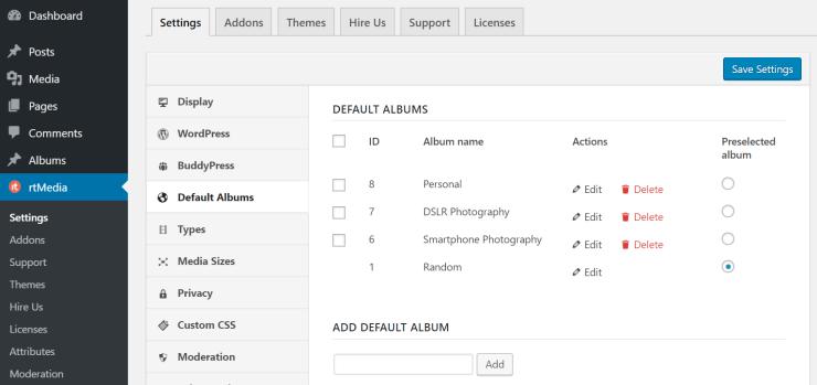 rtmedia default albums settings