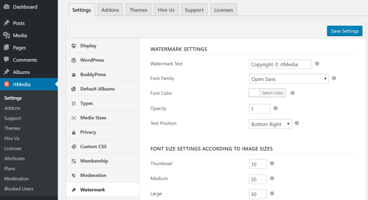 rtmedia watermark settings
