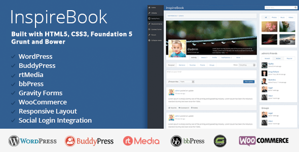 InspireBook - The Best WordPress Social Networking Theme like Facebook for BuddyPress Communities.