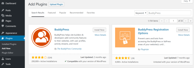 install buddypress from wordpress dashboard