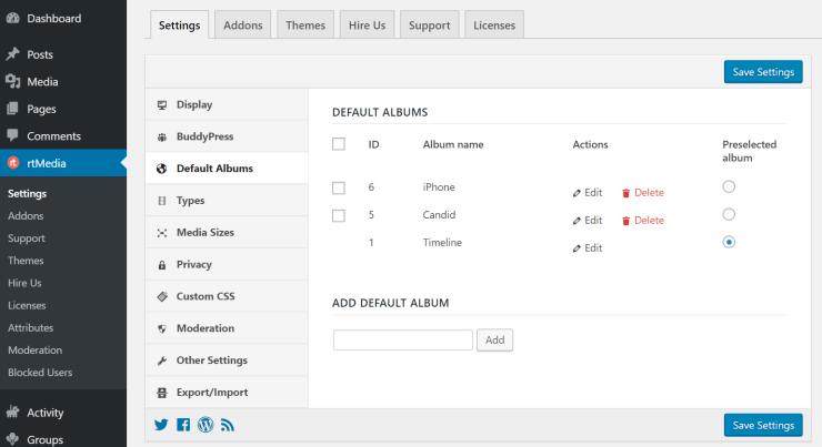 rtmedia default albums