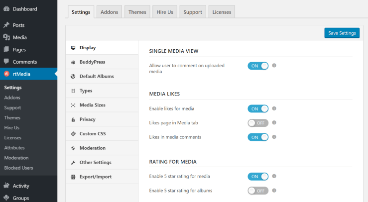 rtmedia display settings