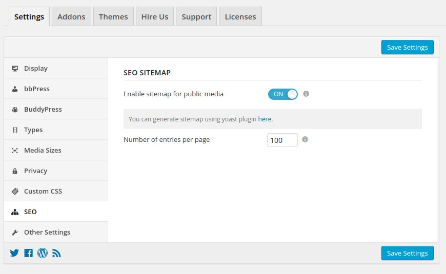 sitemap generator for rtmedia uploaded files