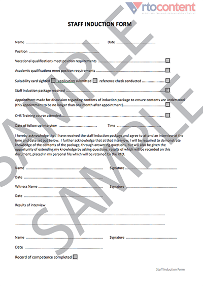 Staff Induction Form • rtocontent