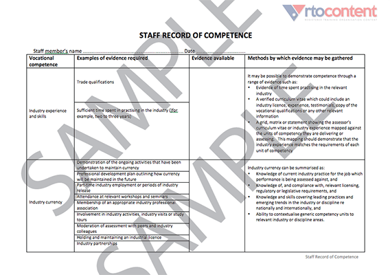 Staff Record of Competence Form • rtocontent
