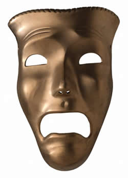 [picture of greek mask - tragedy]