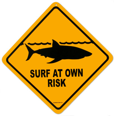 [Picture of a surf at your own risk sign]