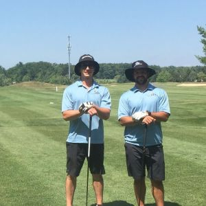 Ryan (left) and Mike (right) representing RTR in their new team polos, courtesy of Saucon Valley Sporting Goods