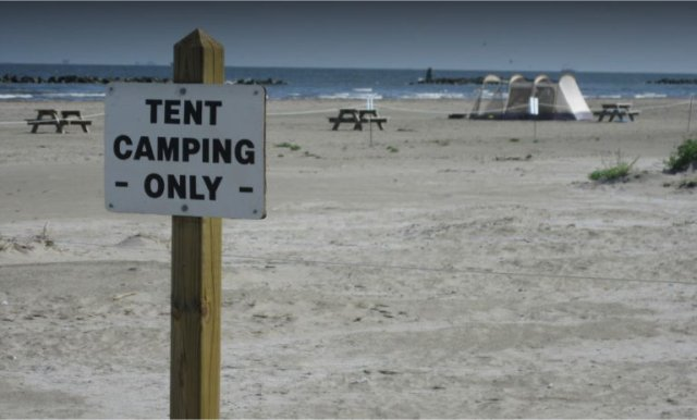 Tent camping is allowed on the beach