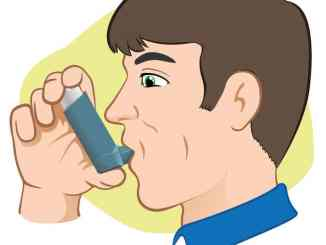 man with inhaler