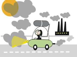 car in smog cartoon