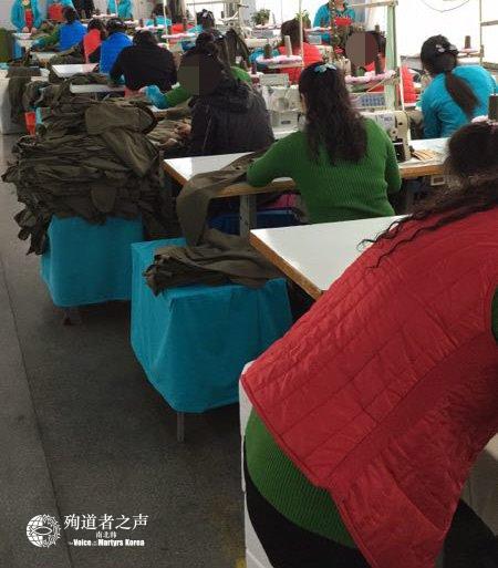 圖1:北韓的海外務工人員在工廠裏工作