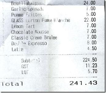 Les Faux Bourgeois receipt