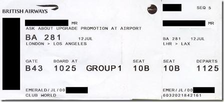 LHR-LAX BAビジネスクラス@2019年7月