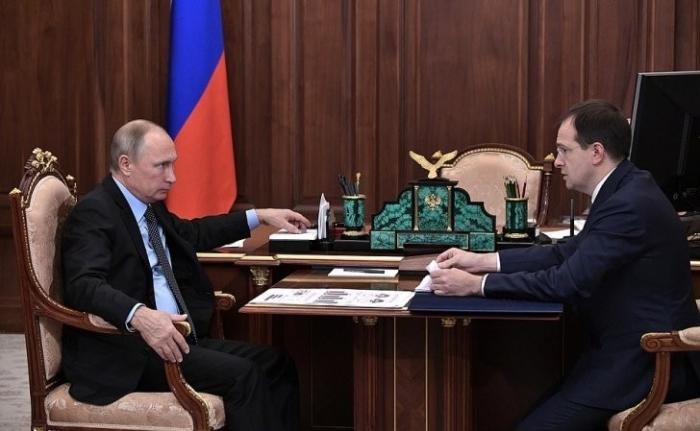 Встреча Владимира Путина сМинистром культуры Владимиром Мединским