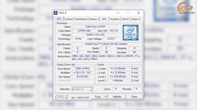 Intel Core i3-8100 скрин CPU-Z с сайта ru.gecid.com