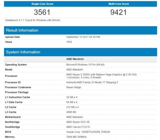 APU AMD Ryzen 5 2500U замечен в базе данных Geekbench. Новости. GECID.com
