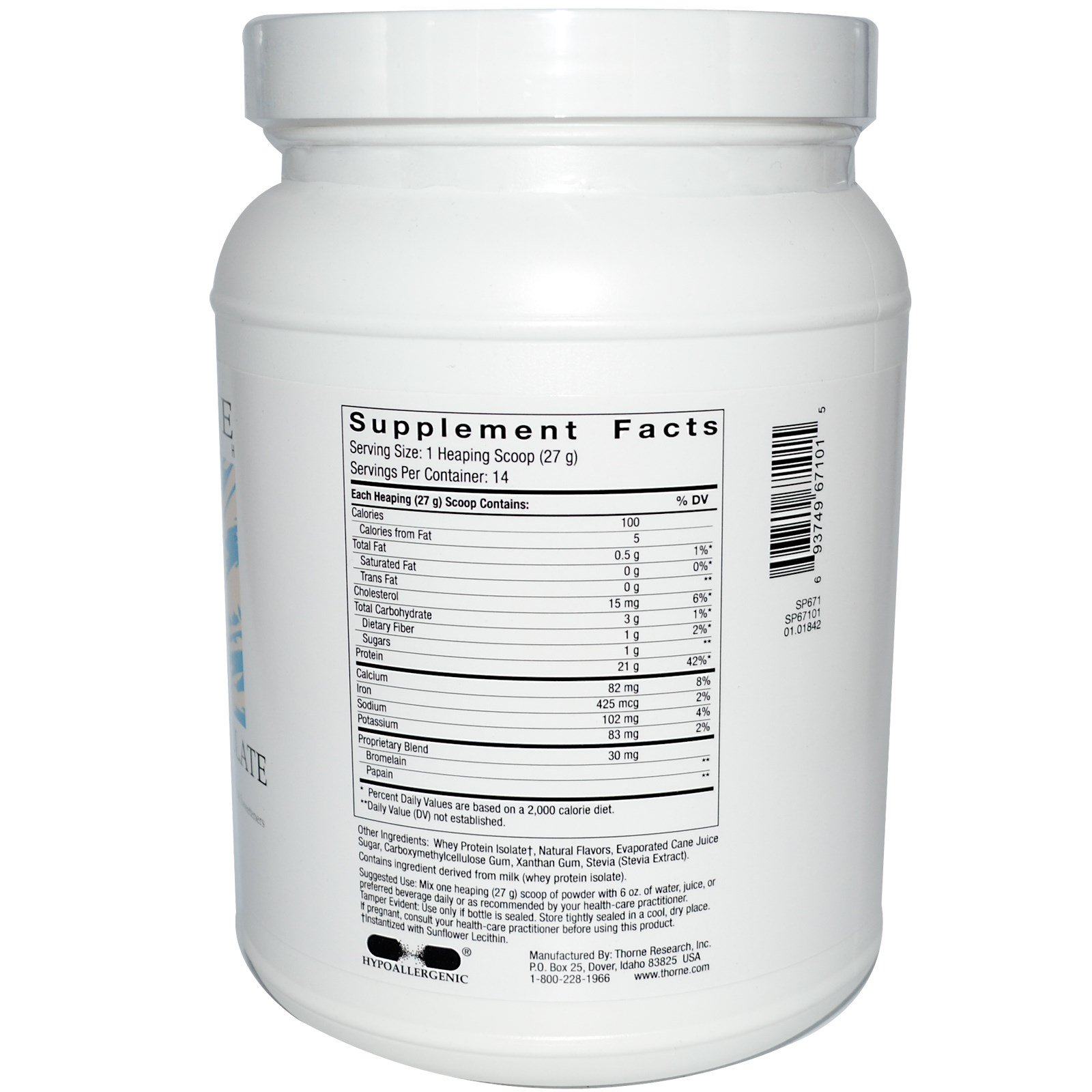 Thorne Research Whey Protein Isolate Vanilla 13.3 oz ...
