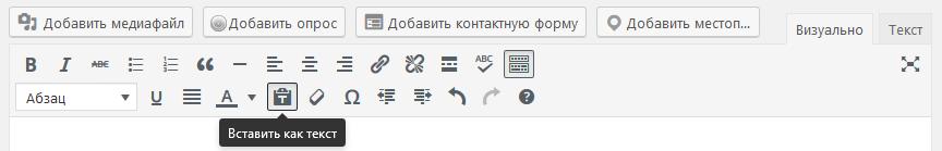 """Кнопка """"Вставить как текст"""""""