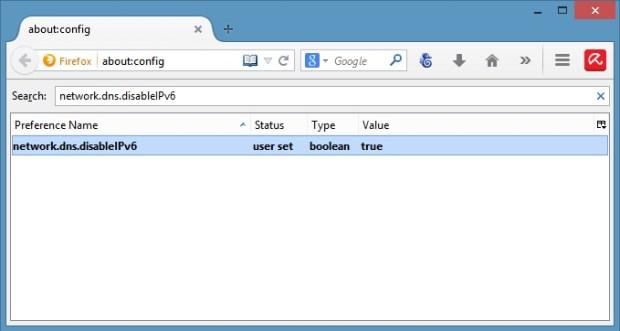 Firefox-network.dns.disableIPv6