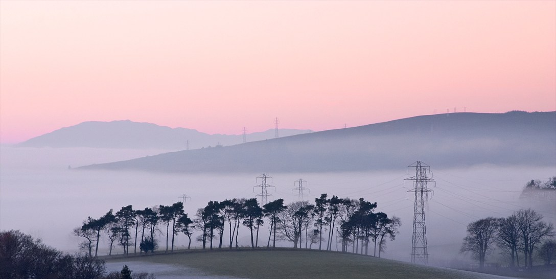 Christmas day mist hangs above the Clyde. Taken from Carman Hill.