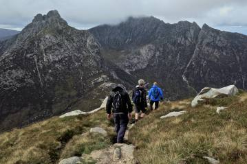 We descend North Goatfell ridge towards the Saddle, then Cir Mhor beyond.