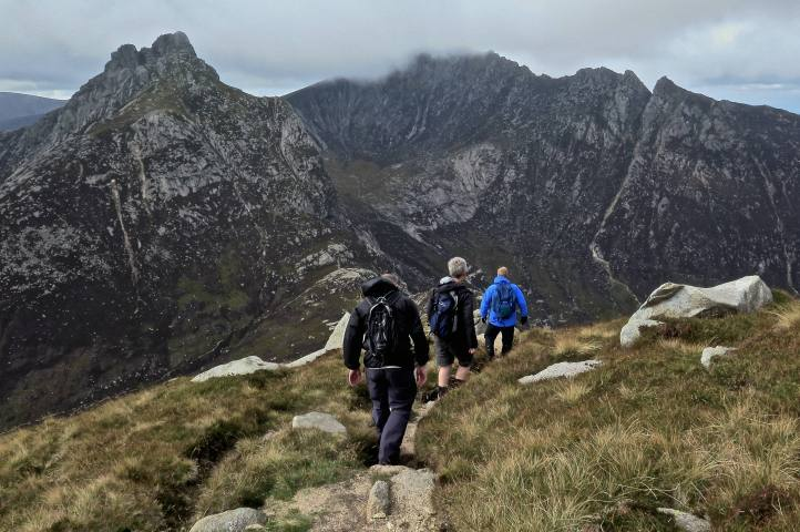 We descend North Goatfell ridge towards the Saddle, then Cir Mhor beyond.
