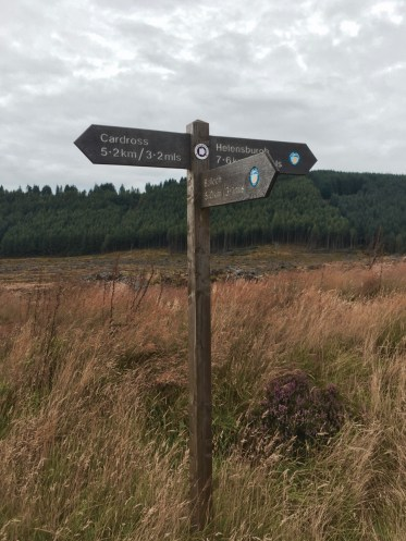Signpost points the way to Cardross and Helensburgh